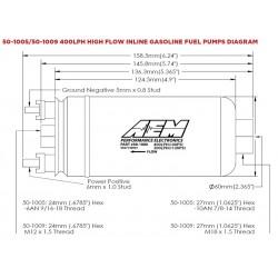Pompe à essence AEM 400lph In-Line 044 style, raccord dash
