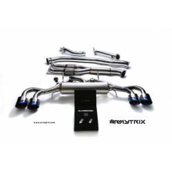 Catback Armytrix en acier inoxydable avec valves et sorties bleues pour GTR R35
