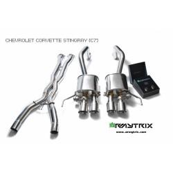Catback Armytrix en acier inoxydable avec valves, sorties bleues en acier inoxydable pour Chevrolet CORVETTE (C7)