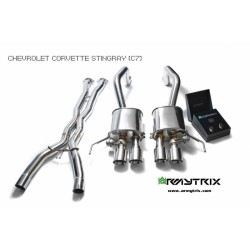 Catback Armytrix en acier inoxydable avec valves, sorties noires mates en acier inoxydable pour Chevrolet CORVETTE (C7)