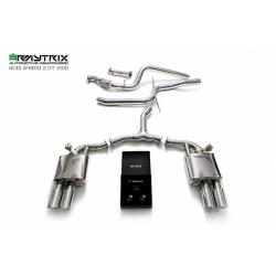 Catback Armytrix en acier inoxydable avec valves, sorties argent chromés en acier inoxydable pour Audi A4 Avant B9