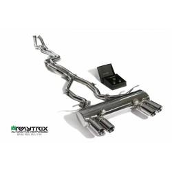 Catback Armytrix en acier inoxydable avec valves, sorties argent chromés pour BMW M3 F80