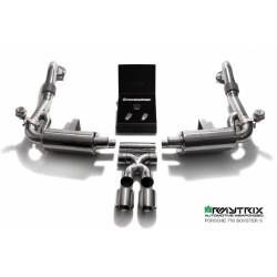 Catback Armytrix en acier inoxydable avec valves, sorties argent chromés pour Porsche 718 Boxster/Boxster S