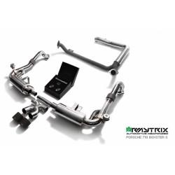 Catback Armytrix en acier inoxydable avec valves, sorties noires mates pour Porsche 718 Boxster/Boxster S