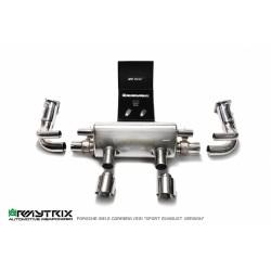 """Catback Armytrix en acier inoxydable avec valves, sorties argent chromés pour Porsche (991.2) Carrera""""Sport exhaust version"""""""