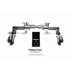 Catback Armytrix en titane avec valves, sorties bleues pour Lamborghini Huracan LP610-4